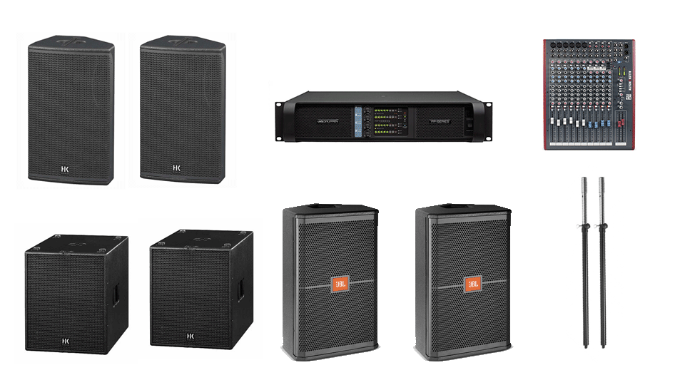 PA Hire Package 3, 2 HK Audio CT115 Speakers, 2 Hk Audio CT118 Sub's, 2 JBL SRX712m monitors, 1 Allen and Heath Zed-14 Mixer, powered by Lab.Gruppen FP Series with microphones, DI Boxes and cabling included.